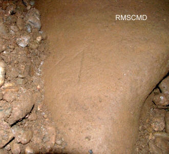 Image of Bosnian Pyramid Tunnel inscription phony photograph by Colette Dowell