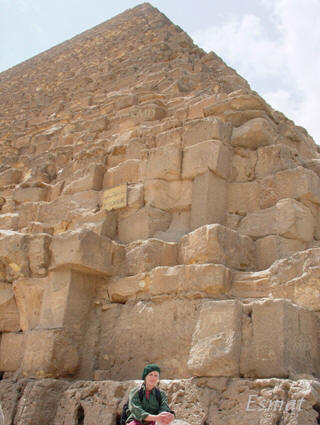Image of North East corner of Great Pyramid with Colette Dowell photo by Esmat
