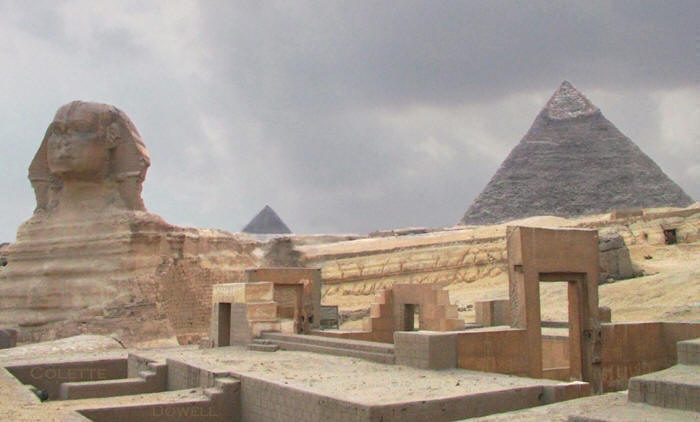 Image of Sphinx body and face Valley Temple and Khafre Pyramid photograph by Colette Dowell